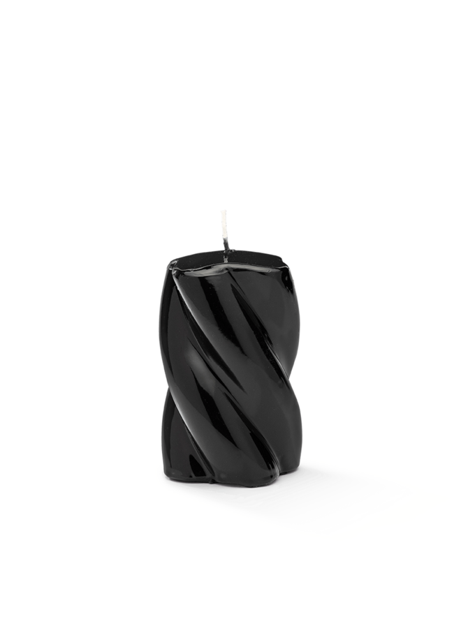Kaars Blunt twisted candle short black