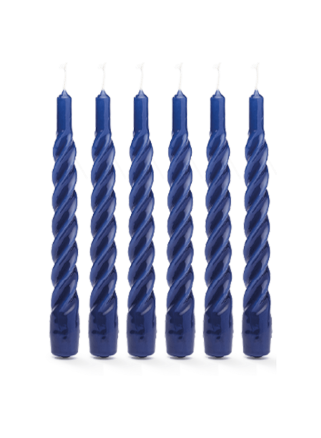 Kaars Twisted candle blue set of 6
