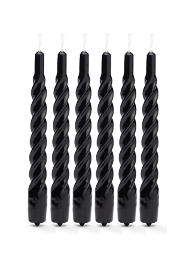Kaars Twisted candle black set of 6