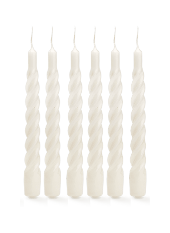 Kaars Twisted candle white set of 6