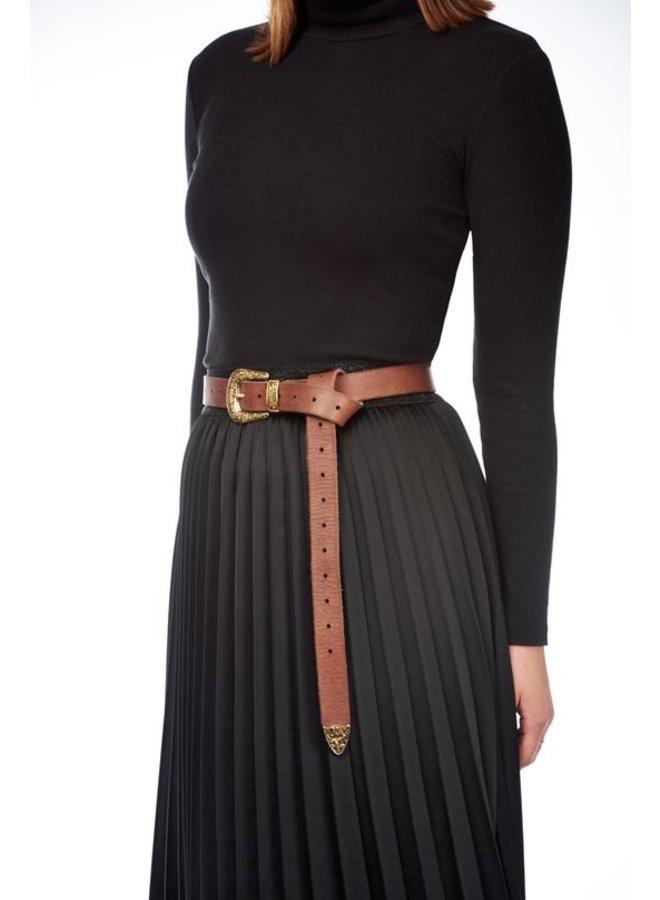 Riem plain belt brown, gold