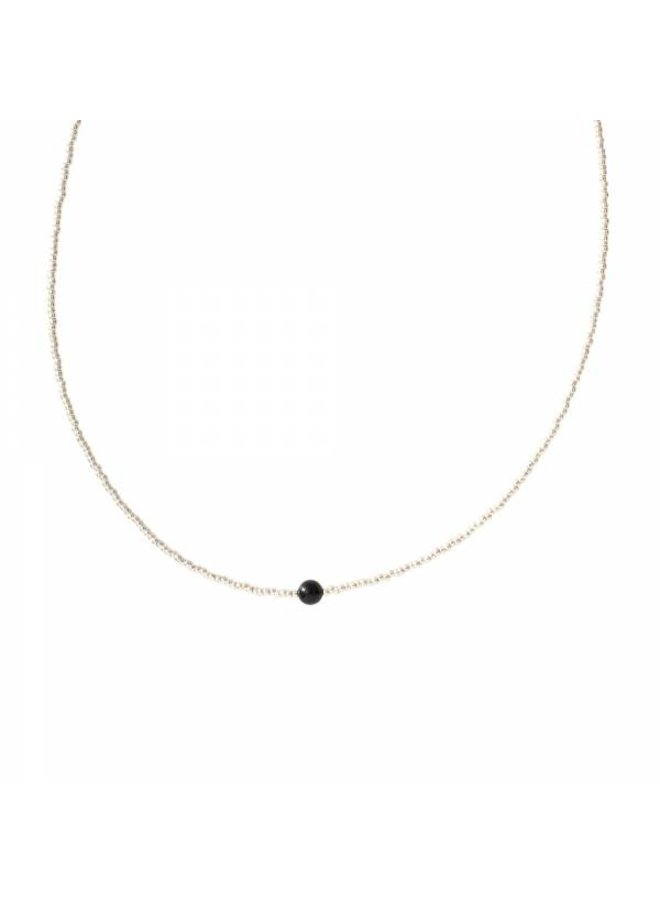 Ketting Flora Black Onyx Silver