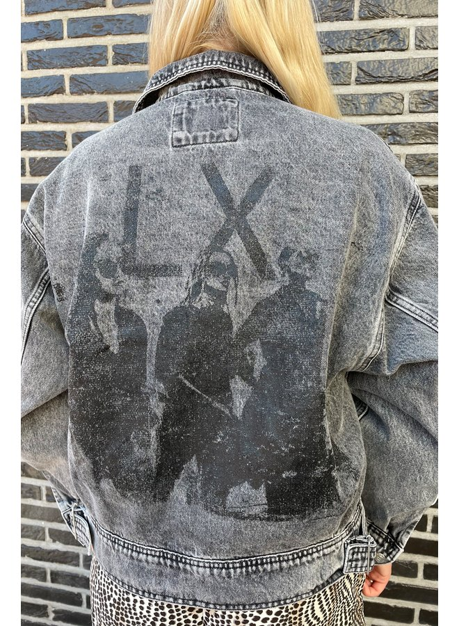 Jacket Ladies woven denim jacket charcoal grey