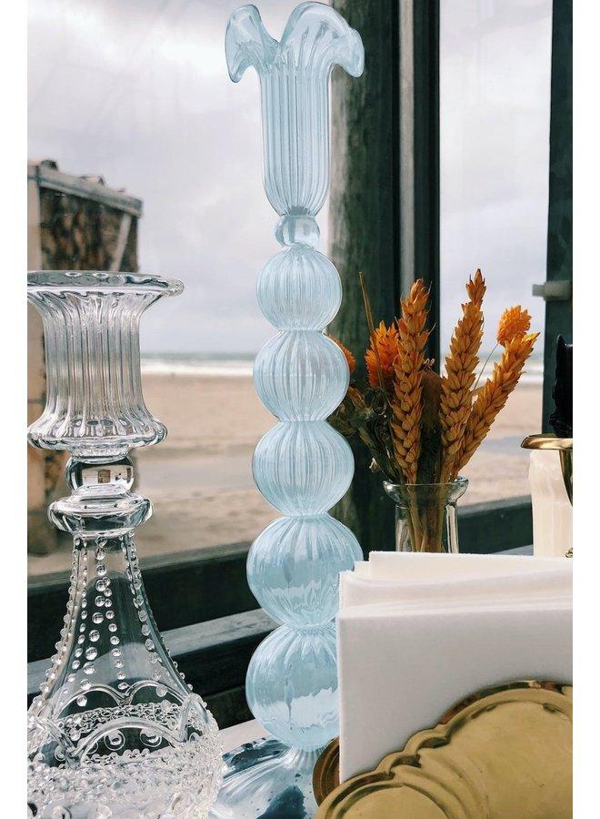 Kaarsenhouder Cloudy glass candle blue