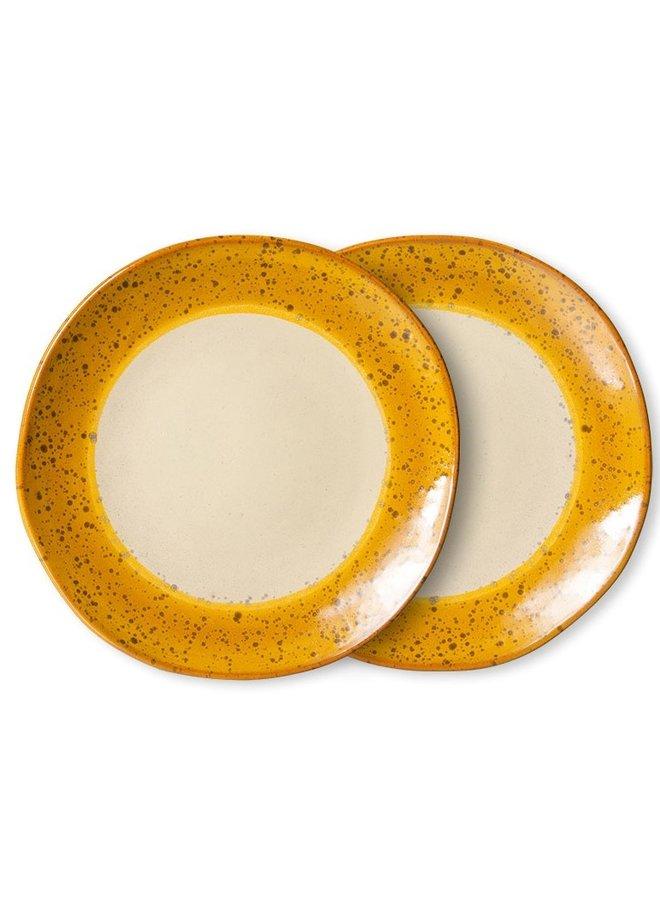 Bord ceramic side plate  70's autumn (set of 2)