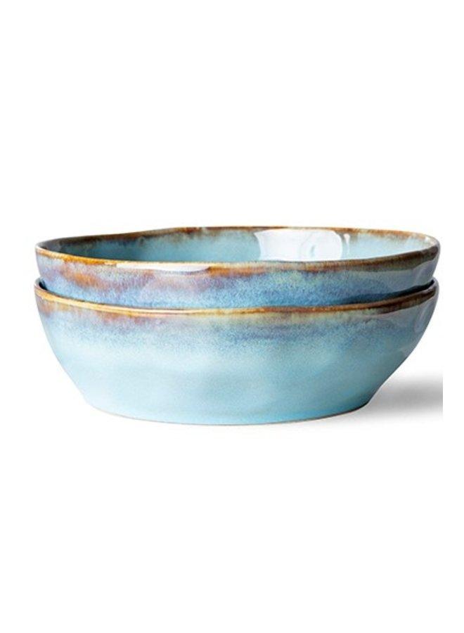Kom ceramic 70's pasta bowl lagune (set of 2)
