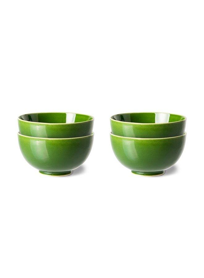 Kom the emeralds ceramic dessert bowl green (set of 4)