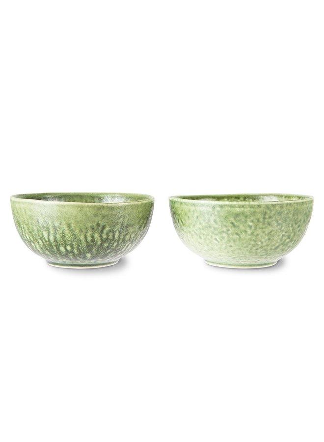 Kom the emeralds ceramic bowl organic green (set of 2)