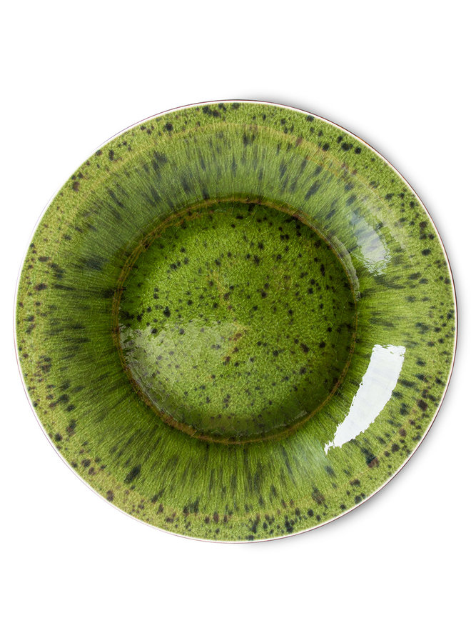 Bord the emeralds ceramic dinner plate spotted green (set of 2)