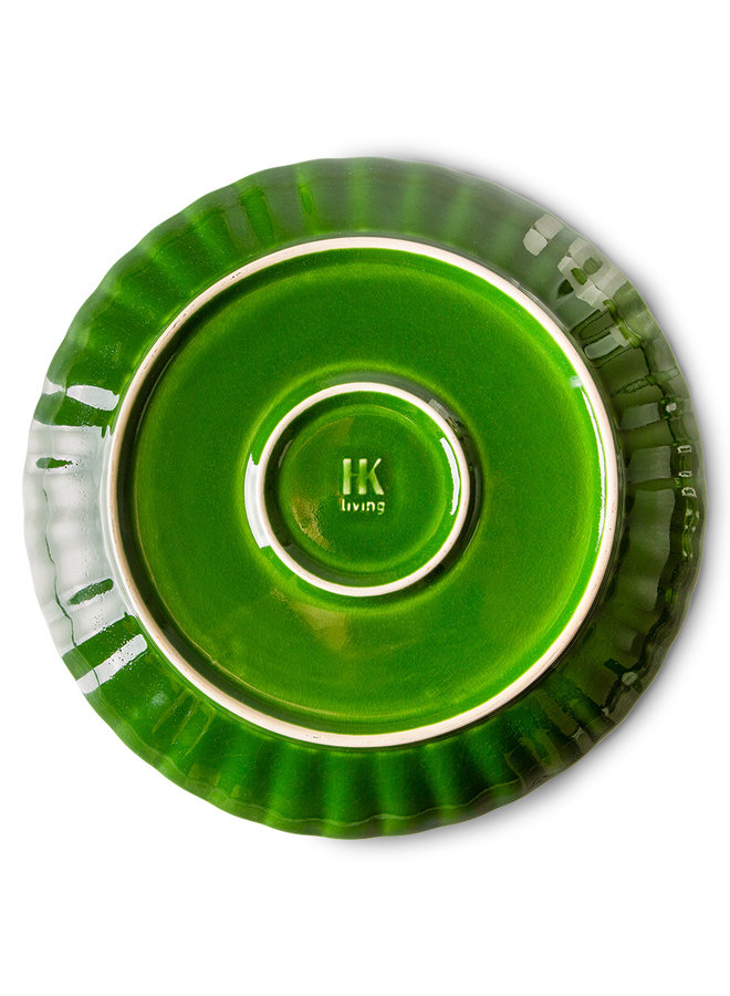 Bord the emeralds ceramic dinner plate ribbed green (set of 2)