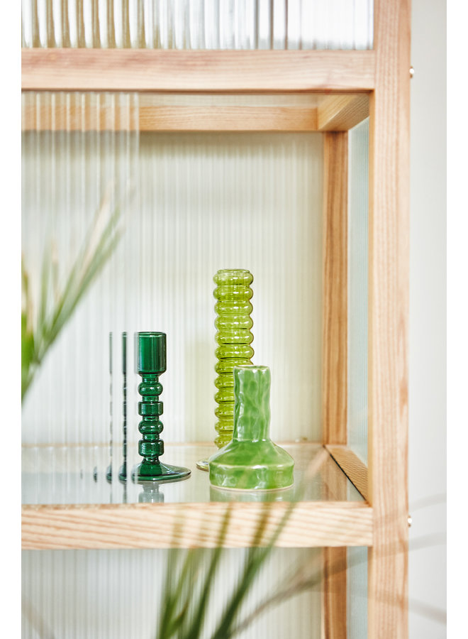 Kaarsenhouder the emeralds glass candle holder l mint green