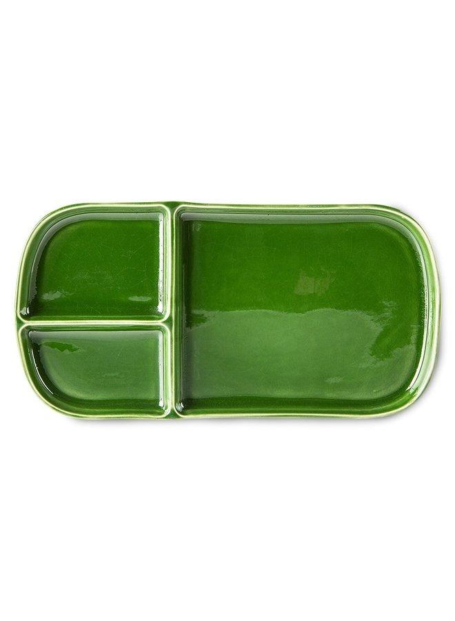Bord the emeralds ceramic plate rectangular green (set of 2)