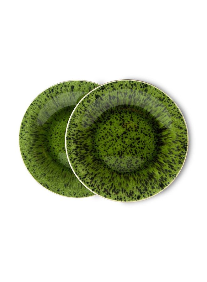 Bord the emeralds ceramic side plate spotted green (set of 2)