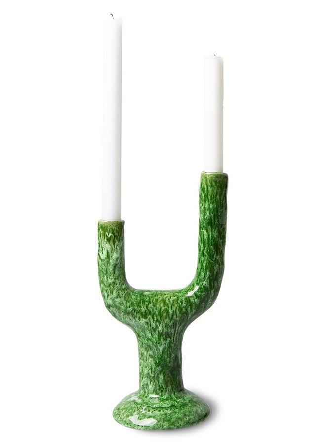 Kaarsenhouder the emeralds ceramic candle holder l reactive green