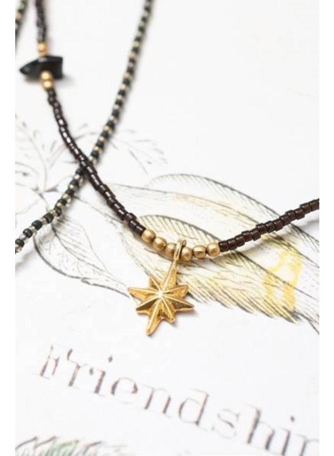 Ketting Wildflower black onyx gold necklace