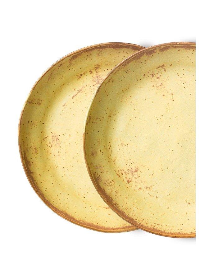 Kom bold & basic ceramics pasta plate yellow,brown (set of 2)