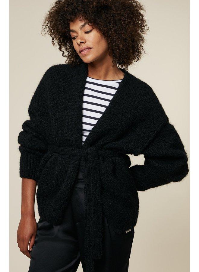 Vest short cardigan alpaca black