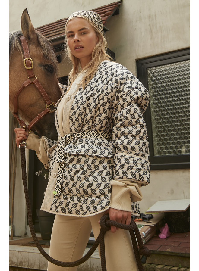 Jas quilted jacket monogram oatmeal
