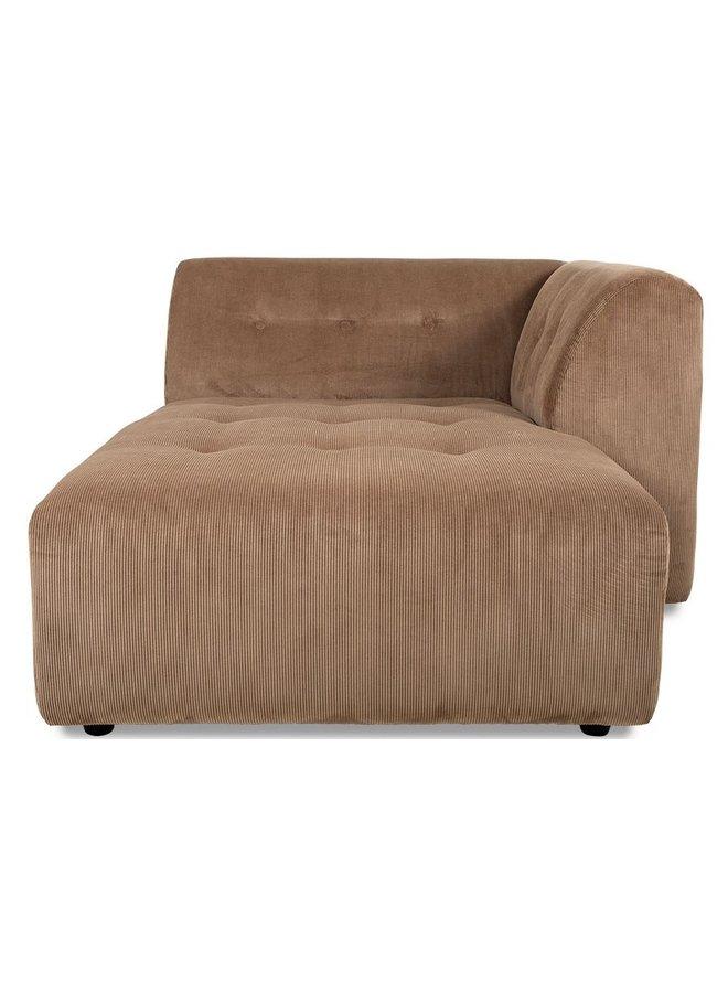 Bank vint couch element right divan, corduroy rib, brown