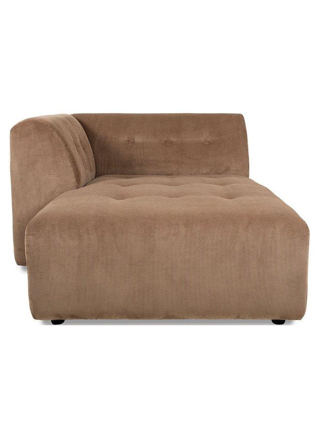 Bank vint couch element left divan, corduroy rib, brown