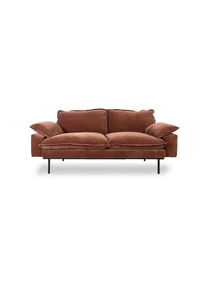 Bank retro sofa 2-seats royal velvet, magnolia
