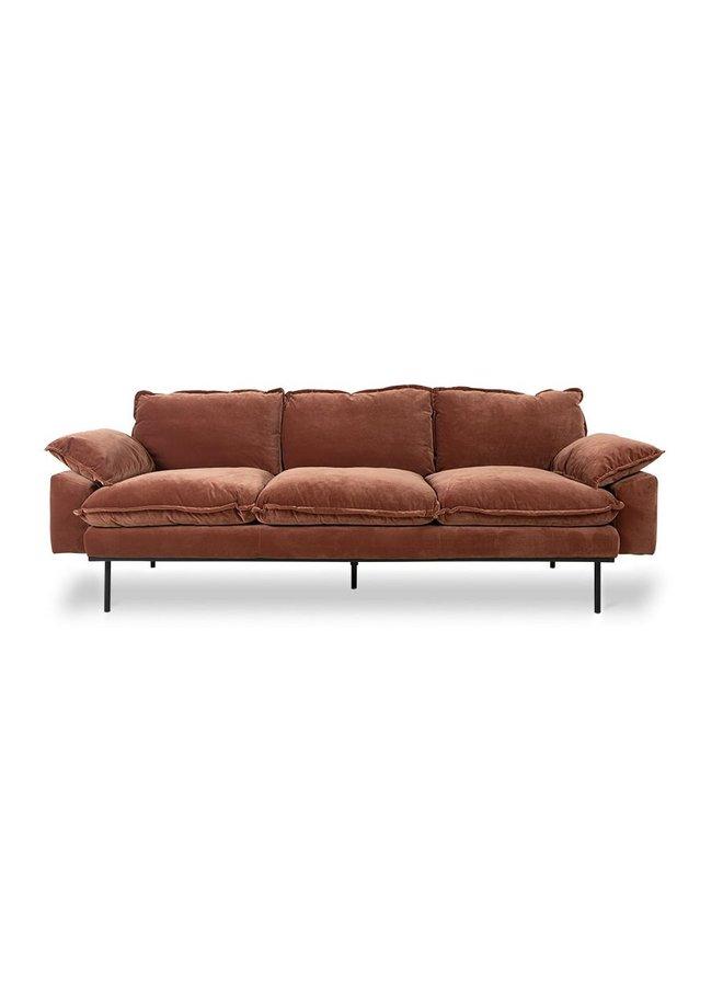 Bank retro sofa 3-seats royal velvet, magnolia