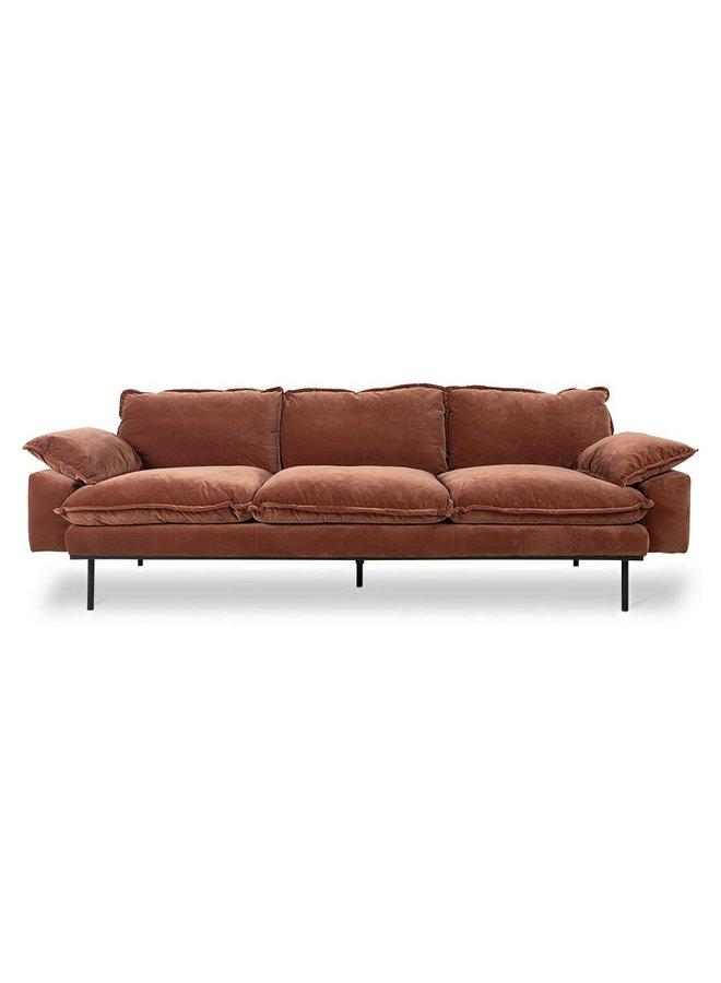 Bank retro sofa 4-seats royal velvet, magnolia
