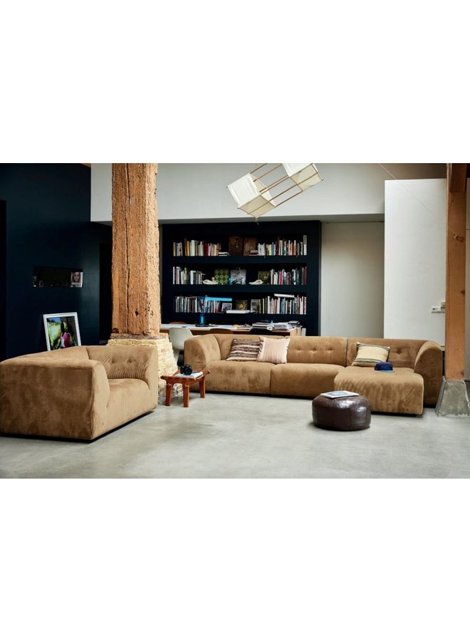 Bank vint couch element middle 1,5-seat corduroy rib, brown