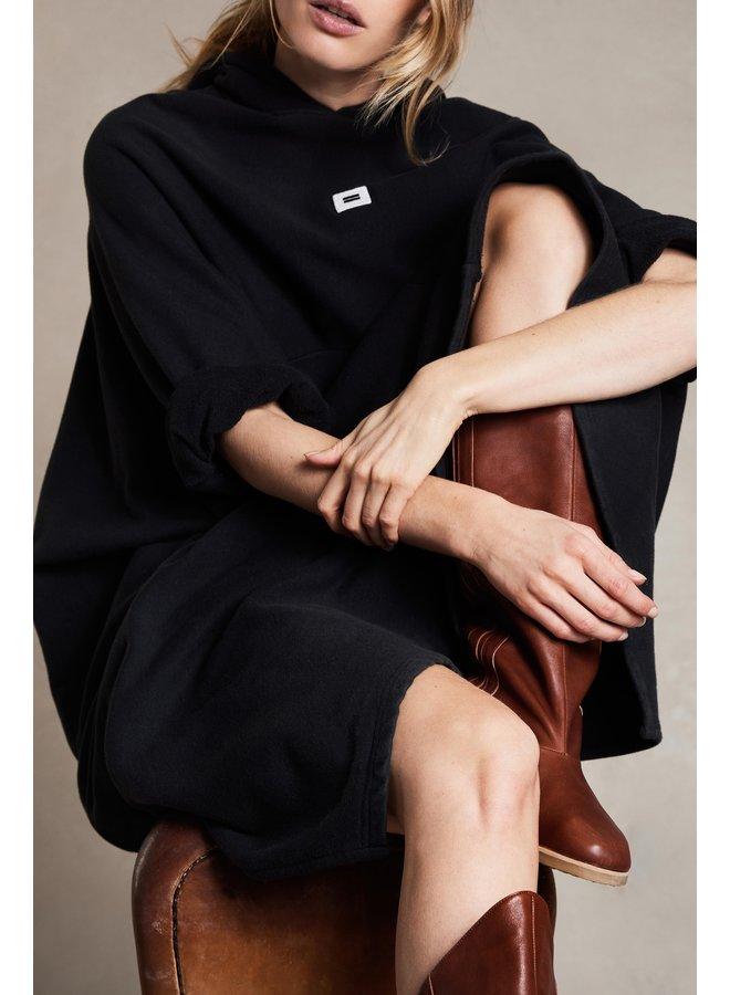 Jurk hooded fleece almost black