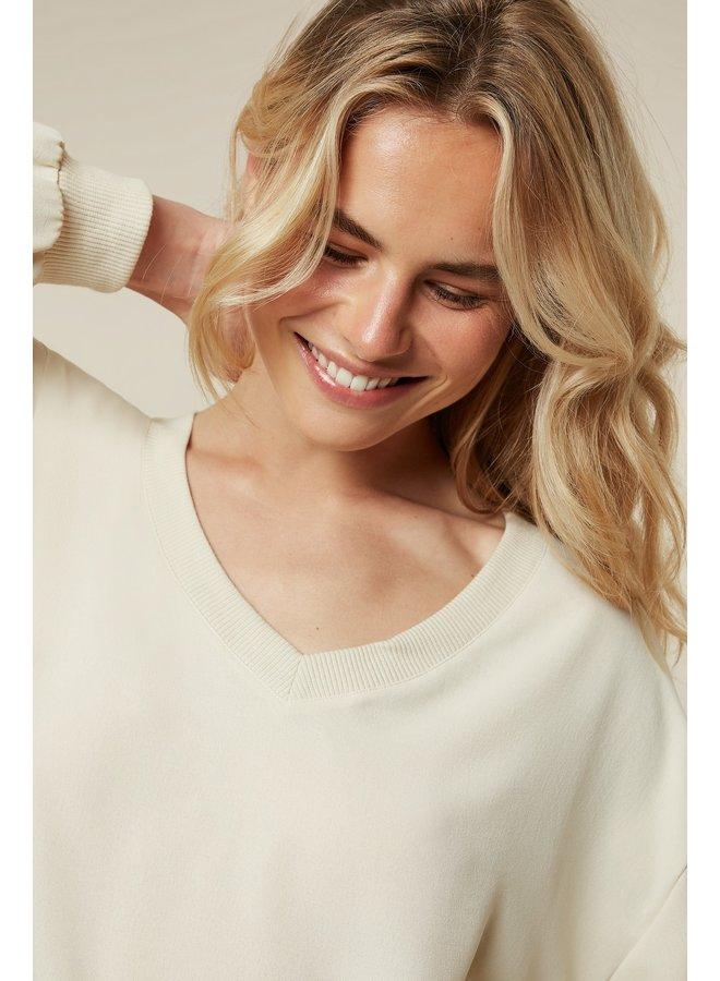 Blouse v-neck blouse soft crepe oatmeal