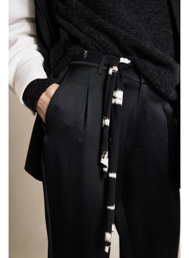 Broek belted belt pants black
