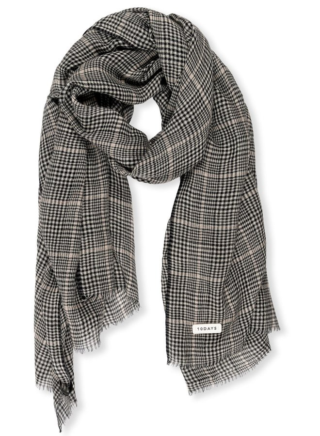Sjaal scarf check almost black