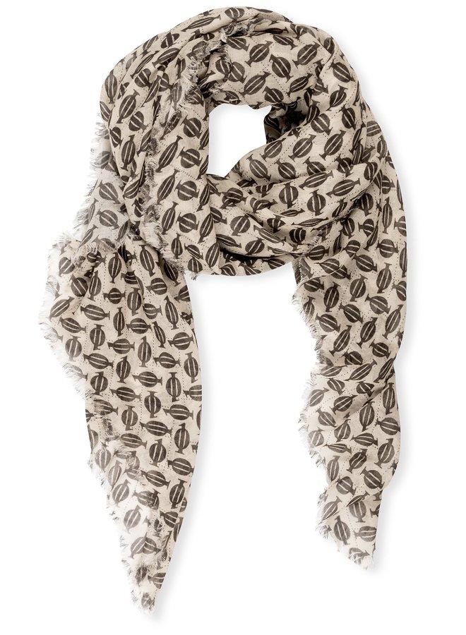 Sjaal scarf monogram oatmeal
