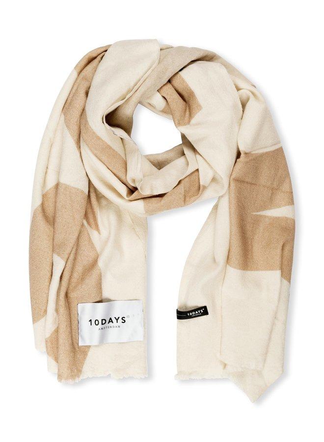 Sjaal wool scarf big logo ecru