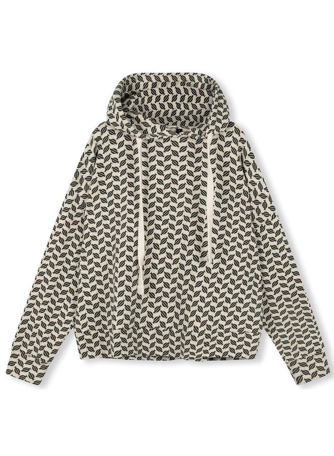 Trui cropped hoodie monogram oatmeal