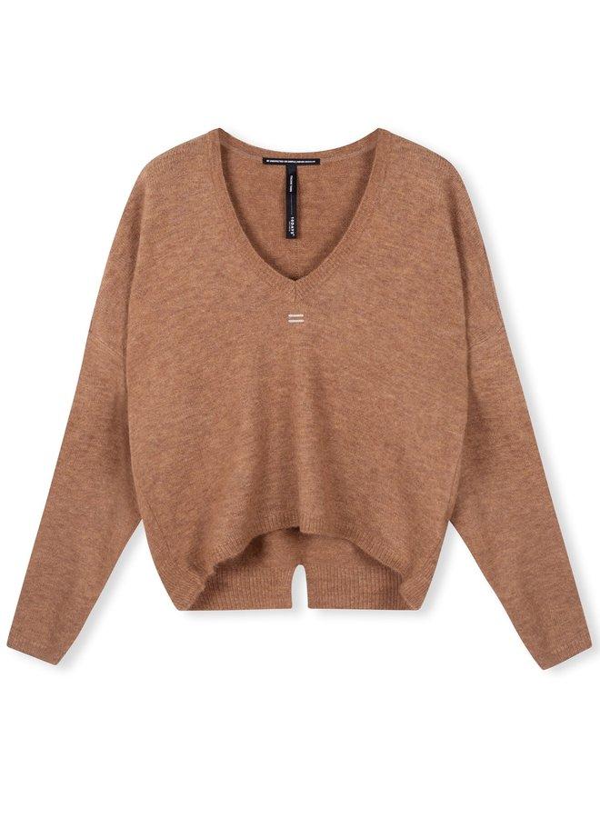 Trui v-neck sweater camel