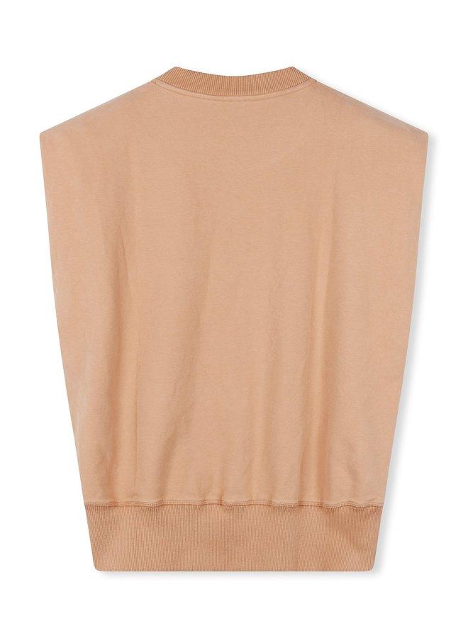 Top padded sleeveless top camel