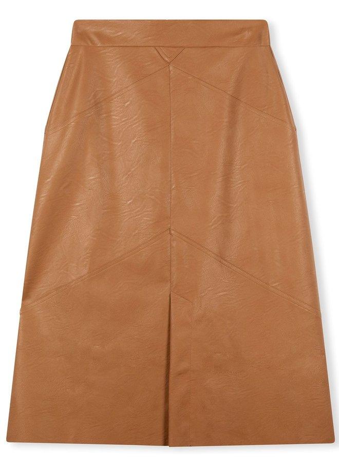 Rok vegan leather skirt cognac