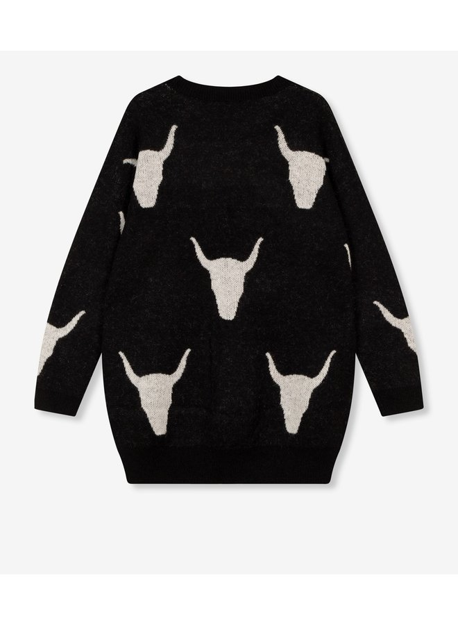 Top Ladies knitted bull jacquard pullover black
