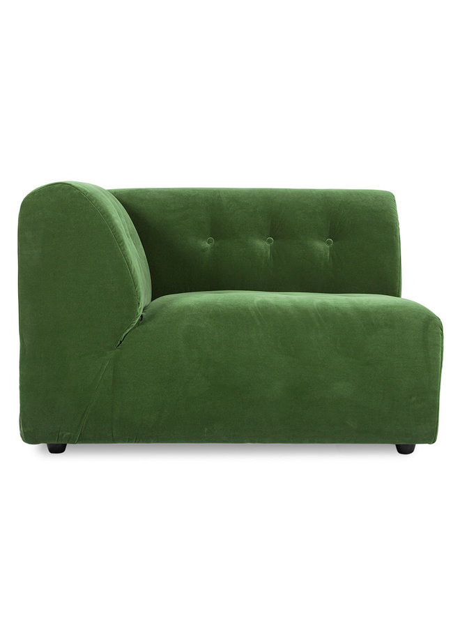 Bank vint couch element left 1,5-seat royal velvet, green