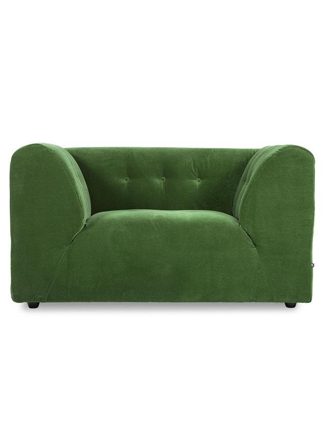 Bank vint couch element loveseat royal velvet, green
