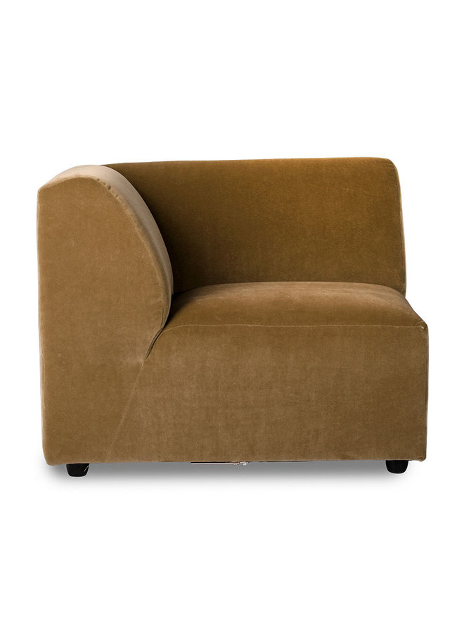 Bank jax couch: element left corner, velvet, mustard