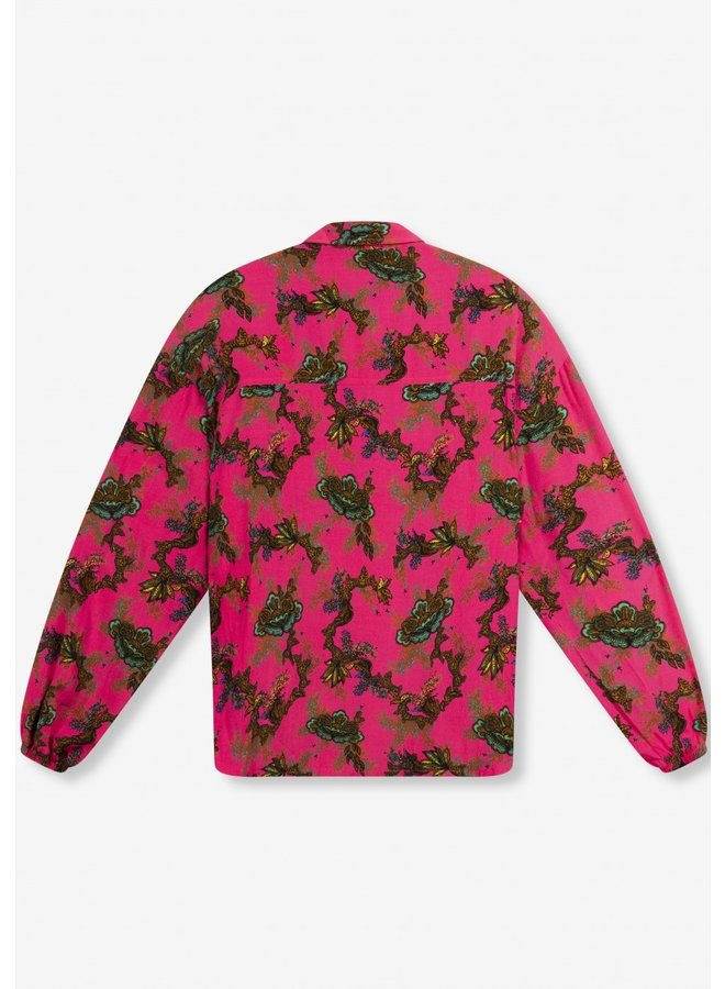 Blouse ladies woven ornament shocking pink
