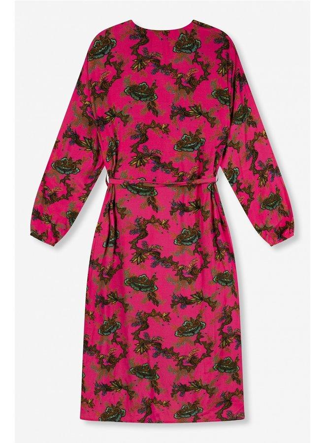 Jurk ladies woven ornament shocking pink