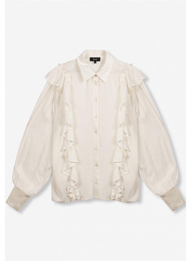 Blouse ladies woven ruffle soft white