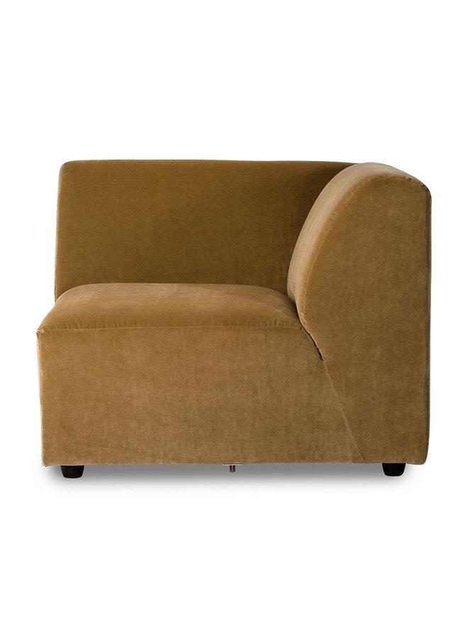 Bank jax couch: element right corner, velvet, mustard