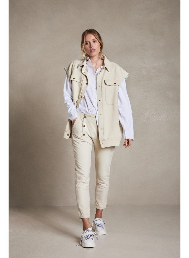 Gilet sleeveless fleece jacket oatmeal