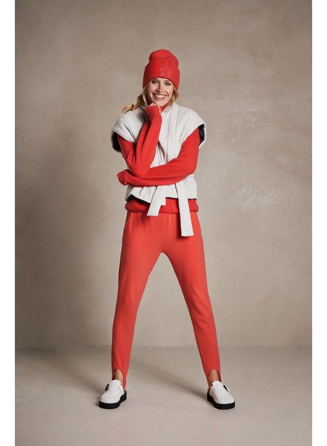 Broek cropped jogger ski fluor red