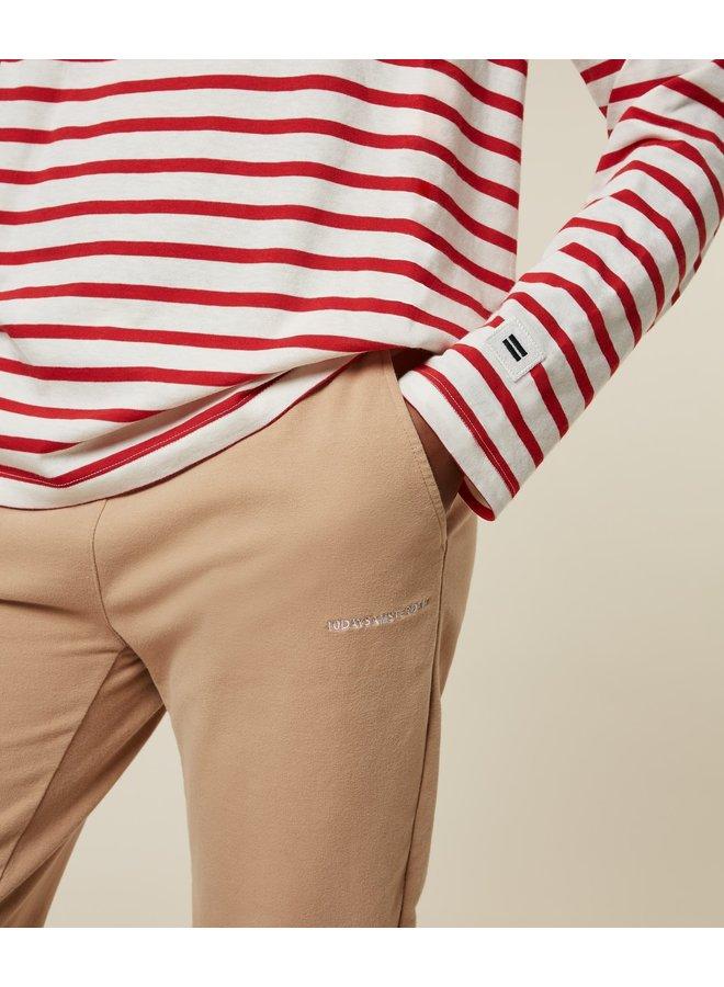 Top longsleeve tee stripe ecru/bright red