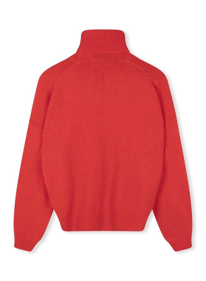 Trui soft turtleneck sweat fluor red